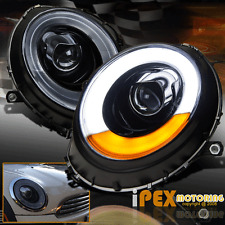 07-12 Mini Cooper Shiny Black LED Bar Projector Headlight W/ Light Somke Lens