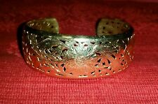 """VINTAGE 14K ETCHED GOLD CUFF BRACELET 8"""" 23.4 GRAMS SOLID YELLOW GOLD ANTIQUE"""