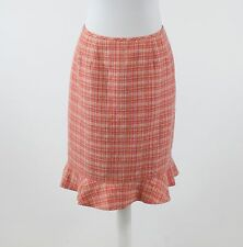 Salmon pink khaki textured tweed LE SUIT ruffled bottom hem straight skirt 8P