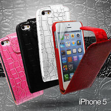 Crocodile Skin Leather Flip Wallet Case + SP For iphone 5 5G Cover