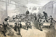 Brooklyn Bethal SCHOOL ROOM Children in Class Reading 1870 Antique Print Matted