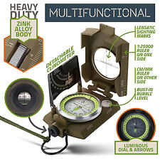 military army lensatic pocket compass for hiking camping outdoor with pouch new
