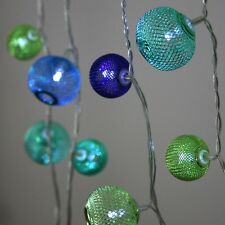 Turquoise Blue Lanterns - 22 LED Indoor String Light Chain - Mains Powered - Tra