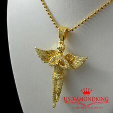 SOLID STERLING SILVER 14K YELLOW GOLD FINISH MINI ANGEL CHARM PENDANT CHAIN SET