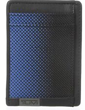 Tumi Black and Blue DOT Leather Money Clip Card Case Alpha RFID Identity Protect