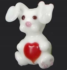 4 Lampwork Handmade Glass Rabbit Love Beads 22x15mm
