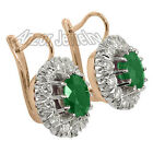 Russian style Earrings 4.0 cwt Emerald and 2.25 Cwt Diamond Earrings 14k (585)