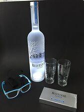 Belvedere Vodka Set 1,75l Flasche + 2 Gläser + Brille + Schwarzlicht Set 40%Vol.