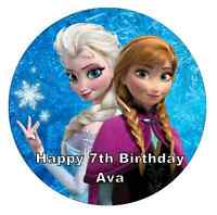 Elsa And Anna Frozen Personalised Cake Topper Edible Wafer Paper 7.5""