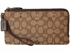 NWT COACH SIGNATURE DOUBLE ZIP WALLET WRISTLET KHAKI BROWN