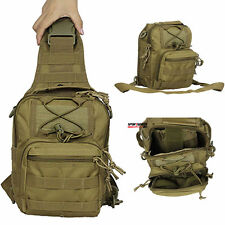 Men Military Tactical Messenger Shoulder Sling Chest Utility Bag Backpack Tan