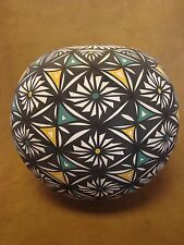 Native American Acoma Fine Line Flower Pottery Hand Painted Pot byVallo! Indian