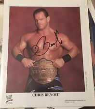 Chris Benoit,Signed,Wrestling Promo Photo,8x10,Autographed,WWF,WWE,Belt,HTF,Rare