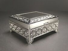 Medium Silver Color Decorated Jewellery Trinket Box Lined With Dark Velveteen #6