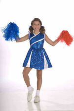 Girls Sassy Cheerleader Costume Blue and White Cheer Dress Size Small 4-6