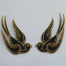 2 Schwalben Aufnäher patch SET Lucky Swallow Rockabilly schwarz gold Punk black