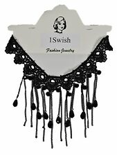 Black Lace Cloth Choker Gothic Necklace for Women & Girls with Beads and Tassel