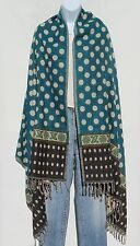 Yak Wool Shawl/Throw-Handloomed in Nepal-Polka Dot Design-Reversible-Multicolor