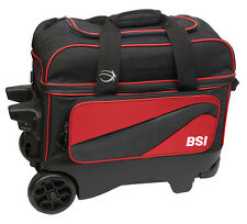 BSI Large Wheel Roller 2 Ball Double Roller Bowling Bag Black/Red