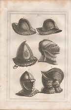 1801 ANTIQUE MILITARY PRINT - ARMOUR PLATE 7 IRON HATS, STEEL CAP, HELMETS