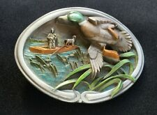DUCK HUNTER 3D DOG BOAT MALLARD HUNTING FISHING BELT BUCKLE VINTAGE BERGAMOT