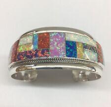 Native American Sterling Silver Hand Made Zuni Multi Colors Opal Cuff Bracelet