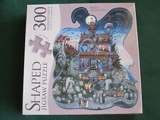 BOO!  Kathy Jakobsen 300 LARGE piece SHAPED GHOST Halloween Haunted House Puzzle