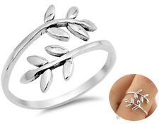 Fashion Silver Ivy Vine Branch Leaf Open Wrap Thumb Adjustable Ring