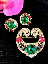 RARE CROWN TRIFARI JEWELS OF INDIA GRIPOIX GLASS CABOCHON BROOCH EARRINGS SET