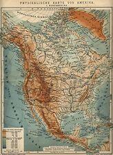 1901= NORD AMERICA Fisica= Antica MAPPATopografica= OLD MAP