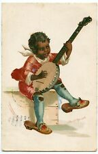 ELLEN CLAPSADDLE. ENFANT NOIR MUSICIEN. BANJO. BLACK CHILD MUSICIAN.