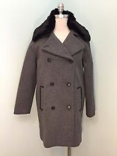 NEW Soia & Kyo Gray Wool Coat Black Fuax Fur Trim M Leather Trim Double Breasted