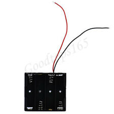 Black Holder Case For 4AA (6V)  With Wire Leads Plastic Battery Storage Box