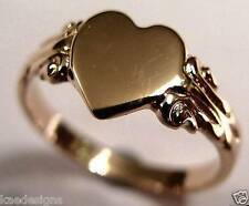 KAEDESIGNS, GENUINE SOLID GENUINE 9CT 9KT ROSE GOLD 375 HEART SIGNET RING