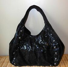 TARNISH BLACK  PYTHON EMBOSSED LEATHER HOBO STYLE BAG PRE-OWNED