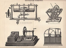 1902 Original Antique Lithograph Print Meyers Electromagnetic combustion engines