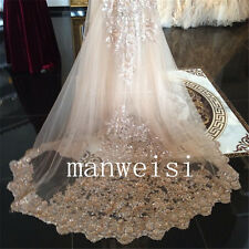 Wedding Veils 3M Cathedral Bridal Veil Lace Applique In Stock Custom Sequin Bead