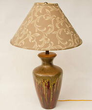 Large Art Pottery Glossy Drip Glaze Ceramic Olive Green Browns Reds Table Lamp