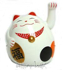 Asie : Japon Porte Bonheur Chat Maneki Neko BLANC Rond Patte Animée GM (à pile)