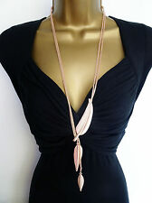 "Stunning 26"" Long Rose Gold Tone Snake Chain Lariat Necklace with Leaf Pendants"