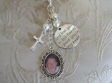 Vintage Inspired Ivory Cross/Crucifix Memorial Bouquet Photo Charm/Bridal