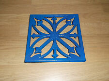 Cast Iron Trivet Blue Square Floral Work Top Saver  Christmas Xmas Gift Kitchen
