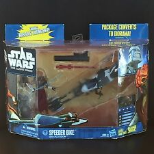 Hasbro Star Wars SOTD 2010 CLONE WARS Speeder Bike Vehicle With PLO KOON