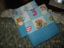 COUNTRY COTTAGE KIDS SET/2 BLOCKS NUMBERS OF BABY ANIMALS FLANNEL PILLOWCASES