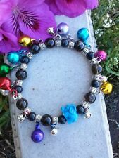 Lucky Elephant, Labradorite Chiming Jingle Bell Charm Stretch Bracelet Fashion
