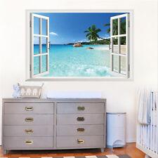 DIY 3D Effekt Fenster Strand Meer Wandaufkleber Aufkleber Wandtattoo Wand Dekor