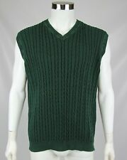Brooks Brothers Golf Mens XXL 2XL Green Cotton Cable Knit V-Neck Sweater Vest
