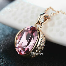 18K ROSE GOLD GF SWAROVSKI CRYSTAL FASHION OVAL PENDANT NECKLACE