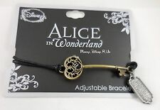 Disney Alice In Wonderland Keyblade Key Pendant Black Cord Bracelet Wristband