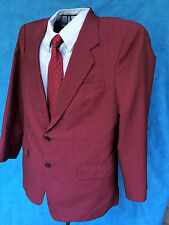 HONG KONG CUSTOM TAILORED 42R DEEP RED SILK BLEND SPORT JACKET 2 BUTTON EUC